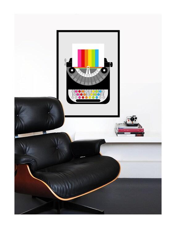 Retro poster print  rainbow typewriter Mid Century Modern office kitchen art - Rainbow Writer 50 x 70cm large poster