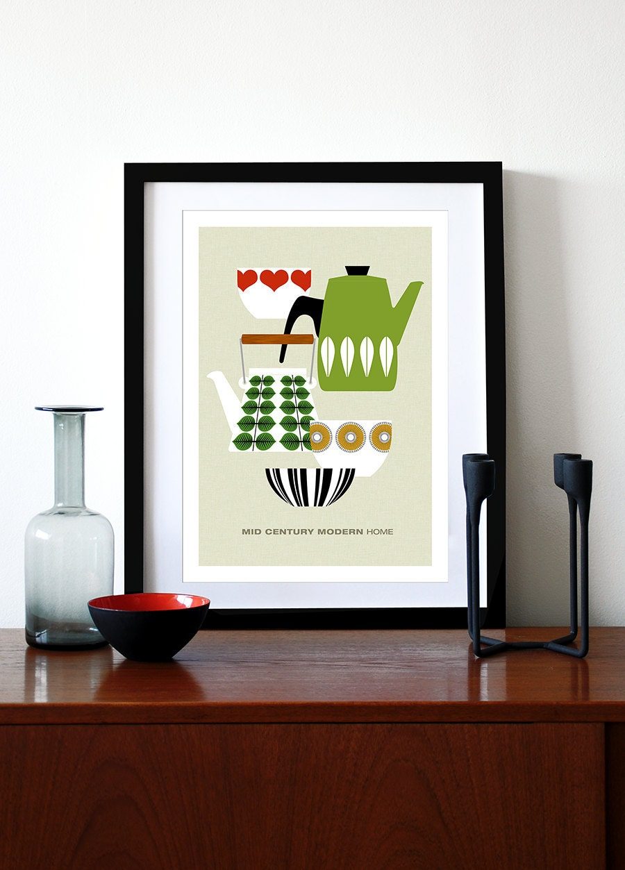 mid century modern poster print retro scandinavian. Black Bedroom Furniture Sets. Home Design Ideas