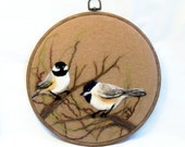 Needle Felted Wool Painting Chickadees - Needlefelt Art