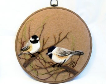 Needle Felted Wool Painting Chickadees - Needlefelt Art
