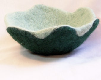 Felted Wool Bowl  Vessel  Two tone dark green and mint