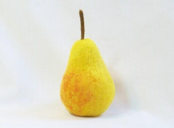 Needle Felted Bartlett Pear - life size felt fruit