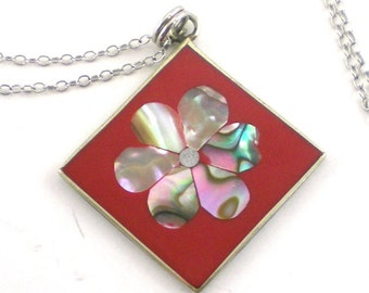 Abalone Necklace  Pendant  Red Flower Enamel Alpaca Silver Mexico Vintage Jewelry