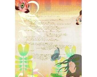 Girl with Alligators Art Print - Wall Art, Girl Painting, Girl with Animals Art, Wall Decor, Whimsical Art Print, Animal Illustration
