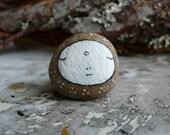 Round Brown / Grey Beach Stone Jizo Bodhisattva