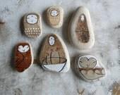 Brown Beach Pottery Collection - Two Jizo Bodhisattvas, Two Kuan Yin Bodhisattvas and Two Owls