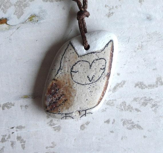 Beach Pottery Owl Necklace
