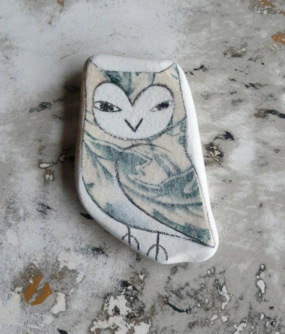 LARGE Green Patterned Beach Pottery Owl