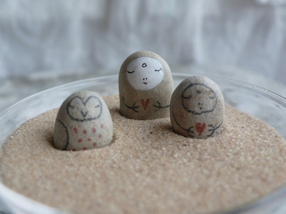 Tiny Tan Beach Stone Collection of Three -  Two Jizo Bodhisattvas and One Owl