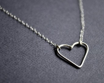 Heart Necklace. Sweet, delicate, petite and handmade from sterling silver. Valentine's. Sweetheart. Love.