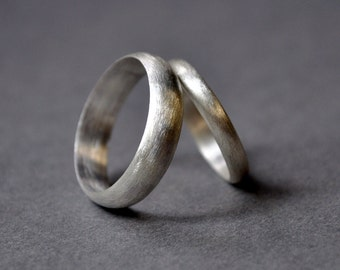 Sterling Silver Wedding Rings. 5mm. 3mm. Brushed Finish. Matte Finish. Wedding Band Set. Holiday Rings. Recycled. Eco.