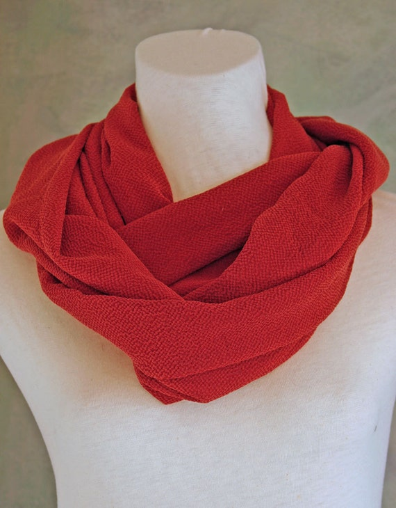 SALE 20% Off Brick or Rust Silk Crepe 29-in Infinity Scarf/Cowl Gift for Her