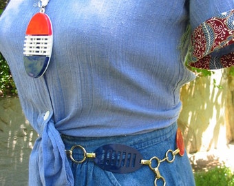 Vintage Mod Red White And Blue Pendant Necklace So Sixties Retro Cool Made In Hong Kong