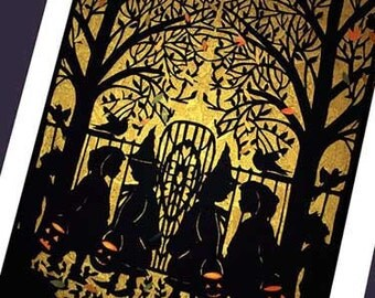 Wow Halloween  Card -silhouette of witches    ( Trick or Treat) #20