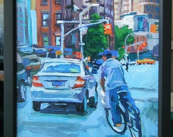 Biker Union Square Painting New York Art Original NYC Delivery  Fine Art NYC Urban Painting Gwen Meyerson