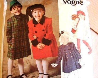 Vintage Girls Dressy Double Breasted Coat Pattern Vogue Toddler size 3 UNCUT Toddler Coat Pattern Little Vogue