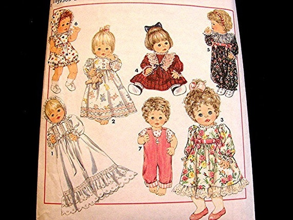Vintage Baby Doll Clothes Pattern Simplicity Size 12 Inch To