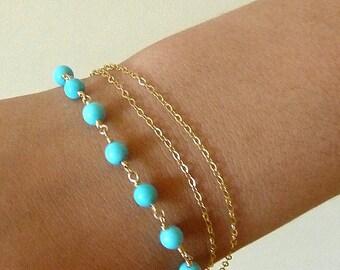 Turquoise Bracelet 14K Gold Filled Triple Strand Chain  - Lucky Seven  - December Brithstone