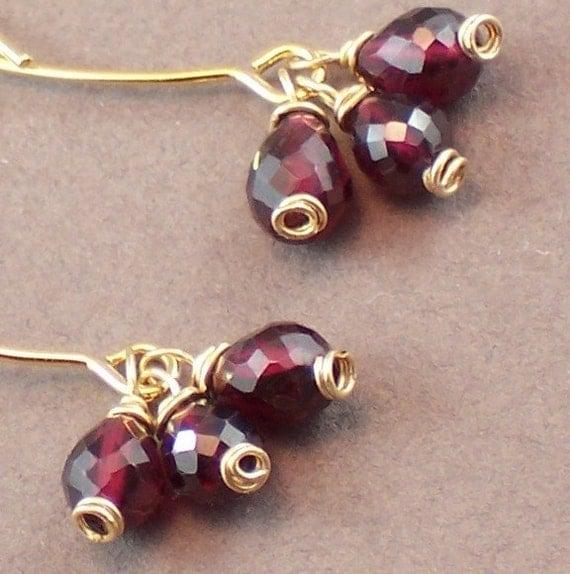 Garnet Earrings  Gemstone Earrings January Birthstone Triple Dangle Teardrop Clusters - Handmade 2012 Fashion