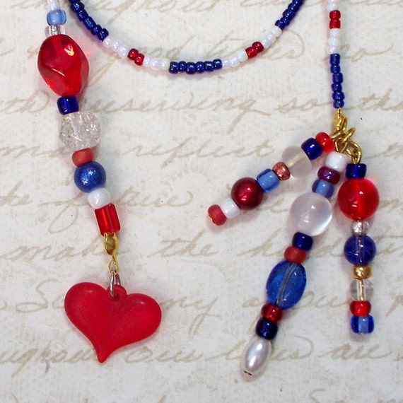 Beaded Bookmark in Red White Blue with Resin Heart BK-019-RWB
