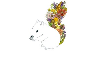 Squirrel, flowers. 8x10 print