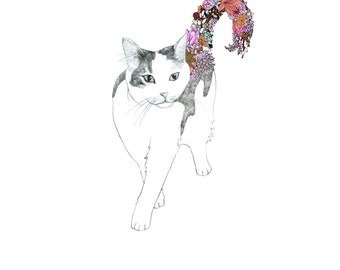 Kitty, flowers. 8x10 print