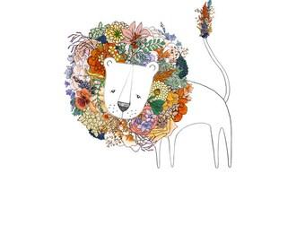 Lion, flowers. 8x10 print