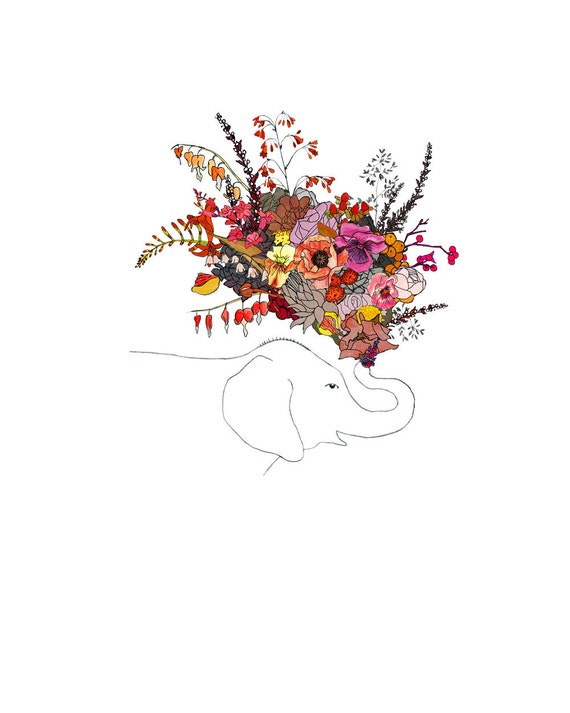 Elephant, flowers. 8x10 print