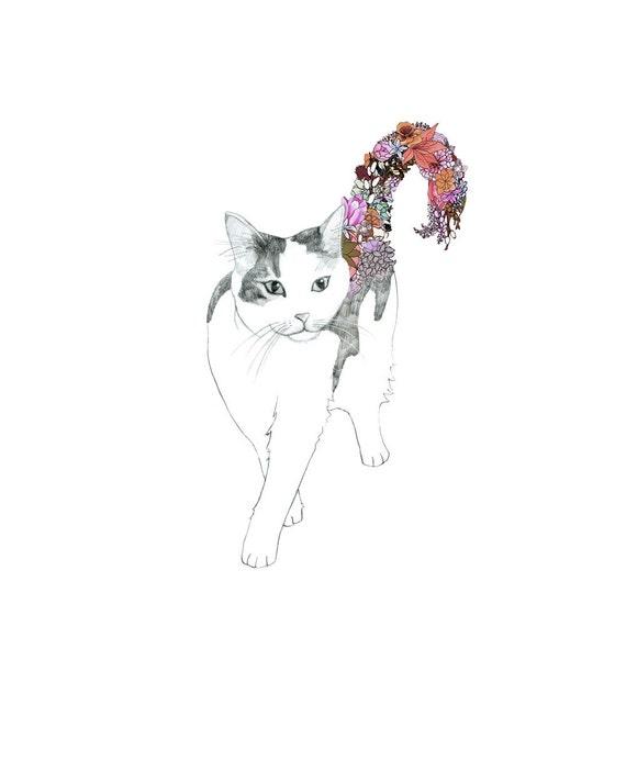 Kitty, flowers. 8x10 print