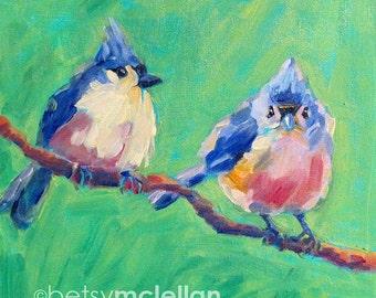 Titmouses - Tufted Titmouses - Bird Art - Paper - Canvas - Wood Block