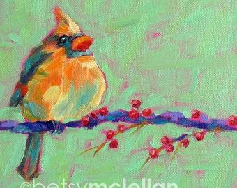 Cardinal - Female Cardinal - Bird Art - Paper - Canvas - Wood Block - Giclee Print