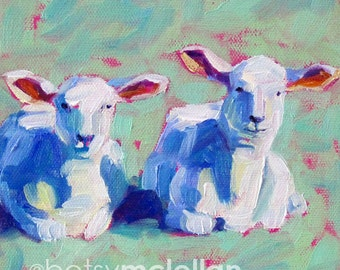 Lambs - Lamb Art - Sheep Art - Sheep Print - Paper - Canvas - Wood Block - Giclee Print