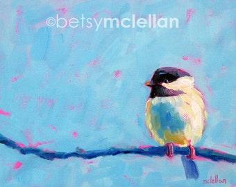 Chickadee - Chickadee Art - Bird Art - Paper - Canvas - Wood Block - Giclee Print