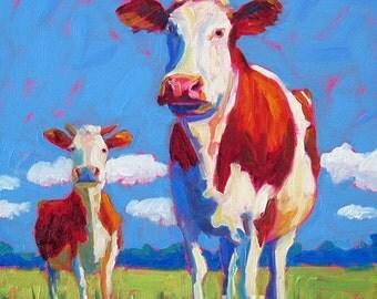 Cows - Cow Art - Cow Print - Paper - Canvas - Wood Block