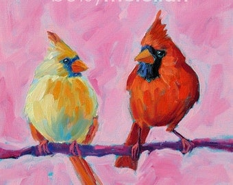 Cardinals - Cardinal Pair - Bird Art - Paper - Canvas - Wood Block