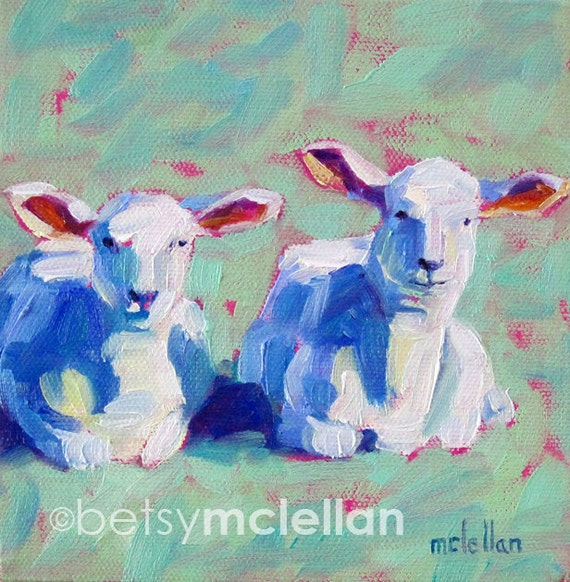 Lambs - Lamb Art - Sheep Art - Sheep Print - Paper - Canvas - Wood Block - Giclee Print