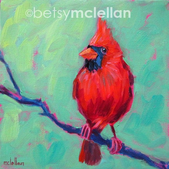 Cardinal - Male Cardinal - Bird Art - Giclee Print
