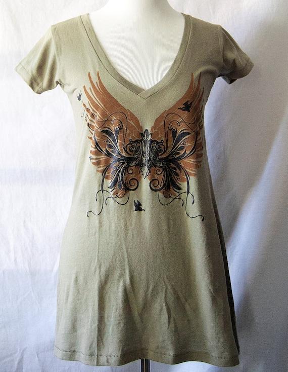 Womens Organic V Neck t-shirt,  SALE  Tunic, Wings, Birds, Fleur de lis t-shirt, Steampunk Top