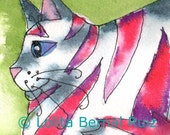 cat art / tabby cat / red striped kitten / whimsical / 4 x 6 inches / P119