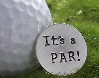 PAR hand stamped sterling silver golf ball marker