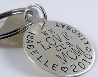 We Love Mom personalized hand stamped sterling silver keychain