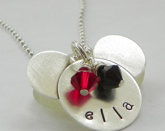 Mouse Ears Sterling Silver Necklace - hand stamped and personalized with Swarovski crystals