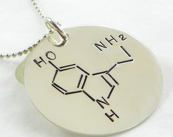 Serotonin Molecule hand stamped sterling silver necklace - Geekery