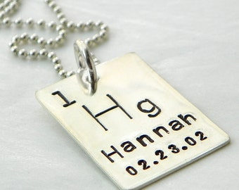 Personalized Periodic Table Element hand stamped sterling silver necklace - Geekery