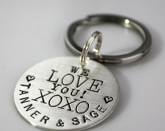 Personalized We Love You XOXO hand stamped sterling silver keychain