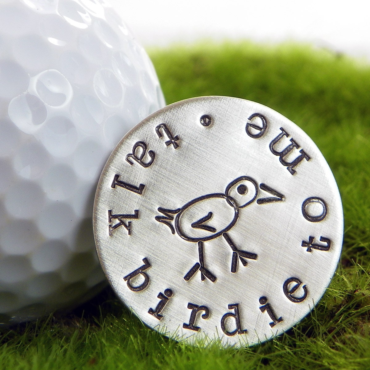 Talk Birdie To Me Hand Stamped Sterling Silver Golf Ball