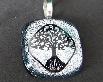 Tree of Life Pendant Etched Dichroic Glass Necklace Silver and Black 1357
