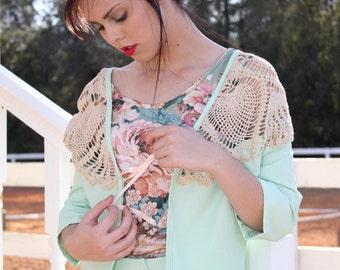 SAMPLE SALE Mint Crochet Cropped Jacket-SMALL-Medium