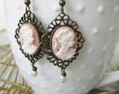 Pink Cameo Earrings Ivory Pearls