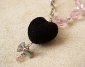 Pink and Black Heart Necklace Silver Bow
